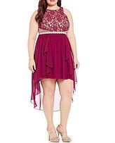 Jodi Kristopher Plus Glitter Lace Bodice High-Low Hem Dress
