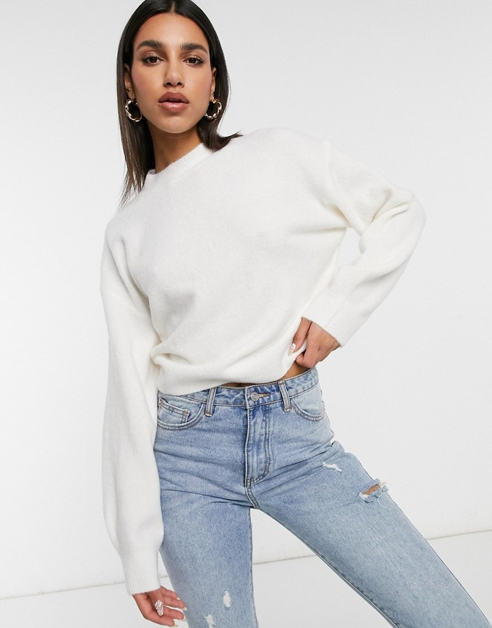 Thumbnail for your product : Weekday Aggie knitted jumper in off white