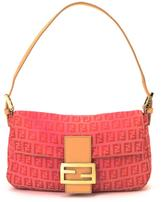 Fendi Pre-Owned Red Zucchino Canvas Baguette Bag
