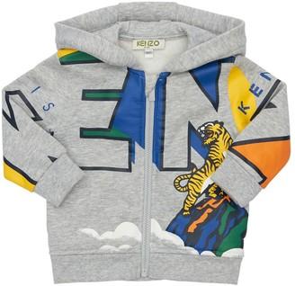 Kenzo Kids Logo Zip-Up Cotton Blend Sweatshirt