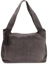 The Row Duplex Suede Satchel Bag, Pewter