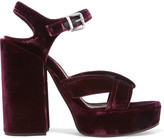Jil Sander Velvet Platform Sandals - Burgundy
