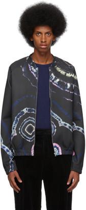 Dries Van Noten Navy Tie-Dye Graphic Zip-Up Sweater