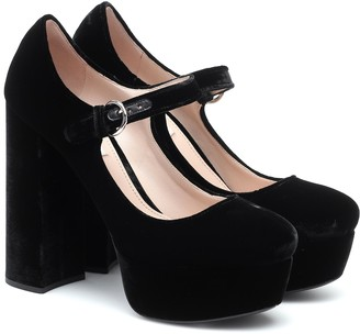 Miu Miu Velvet Mary Jane platform pumps