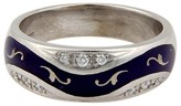 Faberge 18K White Gold Blue Enamel & Diamond Ring