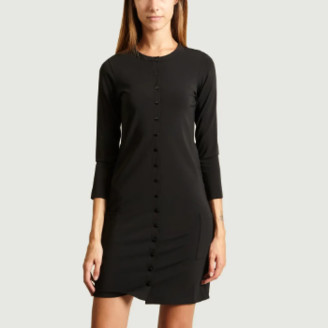 agnès b. Black Polyamide Preppy Cardigan Dress - 1   black   Polyamide - Black/Black