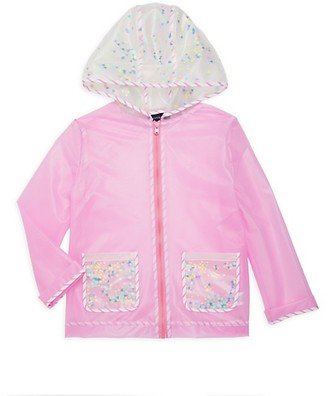 Andy & Evan Girl's Faux Leather Hooded Raincoat