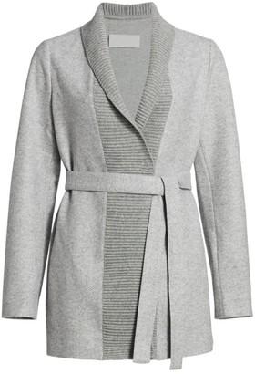 Fabiana Filippi Shawl Collar Herringbone Belted Wool-Blend Jacket