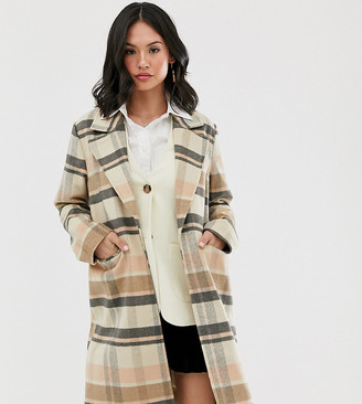 Wednesday's Girl longline wool coat in check-Brown