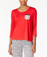 Ellen Tracy Contrast-Trimmed Pajama Top