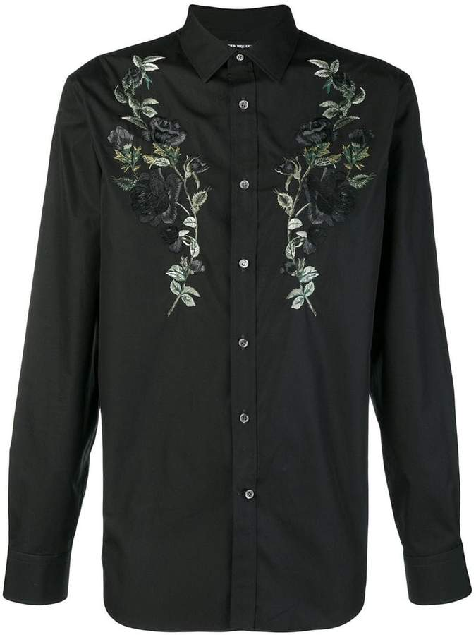 Alexander McQueen embroided longsleeved shirt