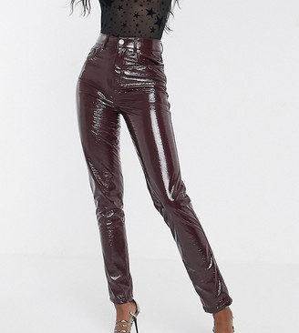 Asos Tall ASOS DESIGN Tall Ritson original mom jeans in burgundy crinkle vinyl