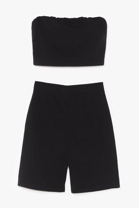 Nasty Gal Womens Hello Friday Bandeau Crop Top and Biker Shorts Set - Black