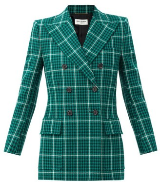 Saint Laurent Double-breasted Prince Of Wales-check Wool Blazer - Green Multi