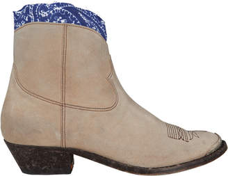 Golden Goose Young Leather Western Booties With Bandana Trim