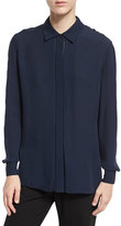 Vince Long-Sleeve Silk Blouse, Coastal Blue