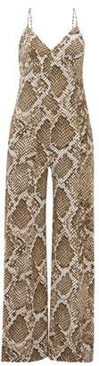 Norma Kamali V-neck Python-print Jumpsuit - Grey Print