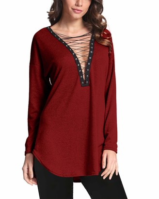 VONDA Women's Sexy Long Sleeve Tops Casual Lace Up Blouse Deep V Mini Shirts Dresses Wine Red L
