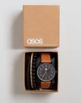 Asos Watch And Bracelet Set In Tan
