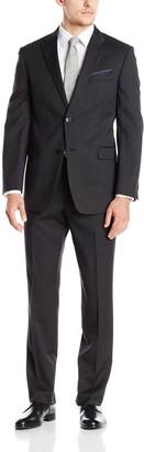 Tommy Hilfiger Men's Charcoal Twill Trim Fit 2 Button Side Vent Slim Fit Suit