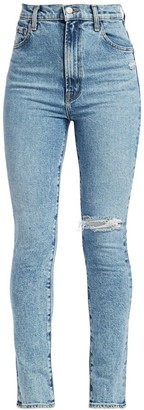 J Brand 1212 Runway High-Rise Distressed Slim-Straight Jeans