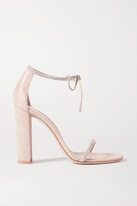 Gianvito Rossi 105 Crystal-embellished Suede Sandals - Neutral