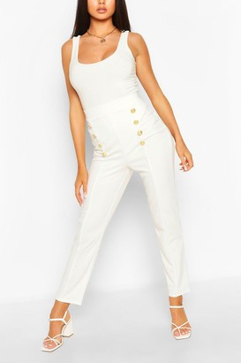 boohoo Button Front Straight Leg Pants