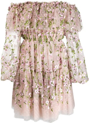 Giambattista Valli Floral Embroidered Deep Frill Dress