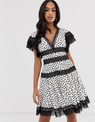 Bronx and Banco Bronx & Banco Brenda polka dot mini dress with lace trim