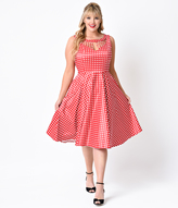 Unique Vintage Plus Size 1950s Red & White Check Hacienda Sateen Swing Dress