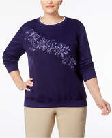 Alfred Dunner Plus Size Family Jewels Collection Embroidered Sweater