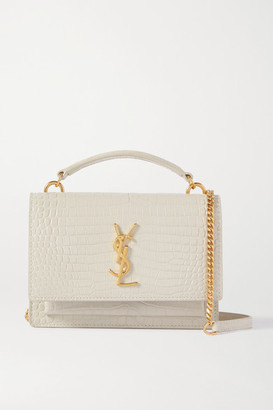 Saint Laurent Sunset Small Croc-effect Leather Shoulder Bag - Off-white