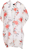 Lvs Collections LVS Collections Women's Kimono Cardigans IVORY - Ivory & Red Floral Kimono - Women