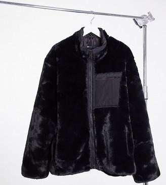 ASOS DESIGN Plus moto jacket in black faux fur
