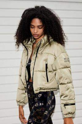 Urban Outfitters Black Satin Super Crop Puffer Jacket - black XS at