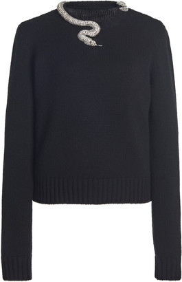 Giambattista Valli Snake-Embellished Wool-Cashmere Sweater