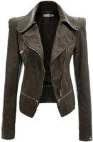 URqueen Women's Slim Motor Faux Leather Jacket Coat L