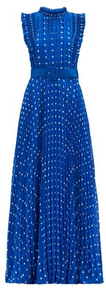 Self-Portrait Polka-dot Plisse-pleat Chiffon Gown - Blue