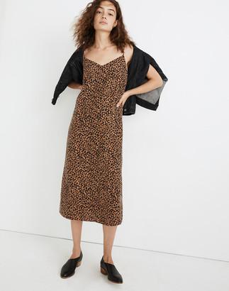 Madewell Petite Silk Eva Slip Dress in Painted Leopard