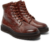 Brunello Cucinelli - Shearling-lined Distressed Leather Boots