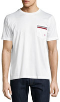 Salvatore Ferragamo Sateen-Effect Cotton T-Shirt w/ Grosgrain & Gancini Pocket Embroidery, White