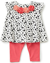 Starting Out Baby Girls 3-24 Months Flower Dotted Swing Top & Solid Leggings Set