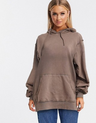 ASOS DESIGN co-ord oversized boyfriend hoodie in washed brown