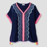 Cat & Jack Girls' Short Sleeve Embroidered Woven Top Cat & Jack - Nightfall Blue