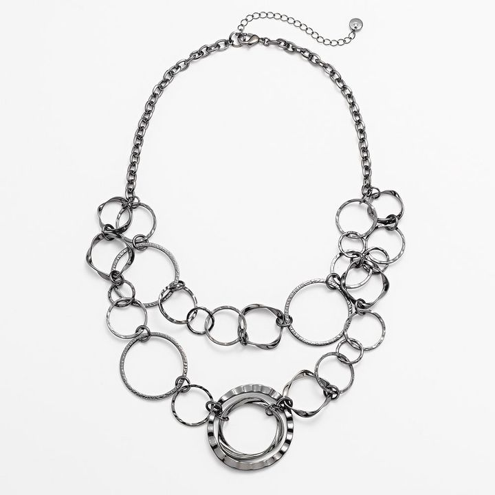 Apt. 9 silver tone textured & swirl circle-link swag statement necklace