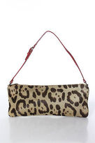 Valentino Garavani Brown Animal Print Fur Shoulder Handbag Size Small