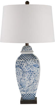 "Sagebrook Home Ceramic 31"" Ginger Jar Table Lamp, Blue and White"