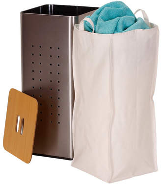 Household Essentials Square Metal Laundry Hamper with Wood Lid