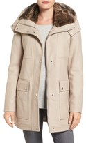 Kenneth Cole New York Women's Wool Blend Parka With Faux Fur Lined Collar