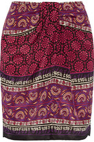 Anna Sui Printed Silk And Cotton-blend Mini Skirt - Claret